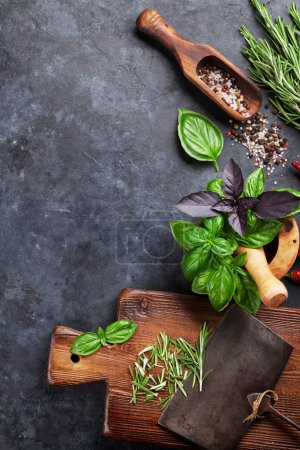 Herbs and spices on table