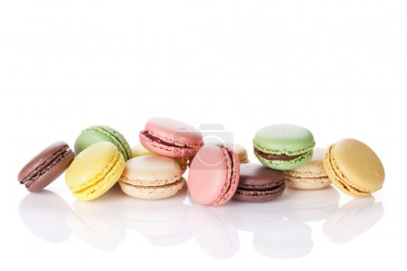 Photo for Colorful macaroons. Sweet macarons. Isolated on white background with copy space for your text - Royalty Free Image