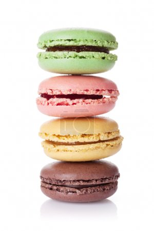 Photo for Colorful macaroons. Sweet macarons. Isolated on white background - Royalty Free Image