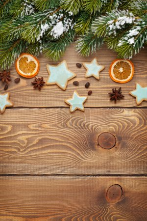 Christmas wooden background