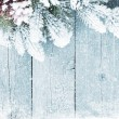 Old wood texture with snow and firtree christmas b...