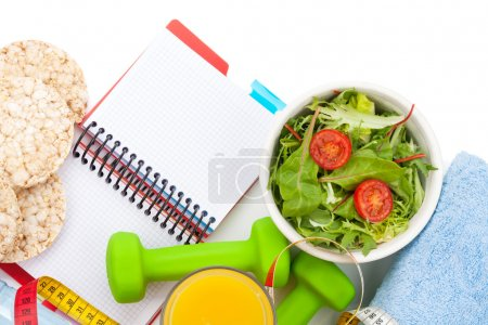 Healthy food and notepad for copy space