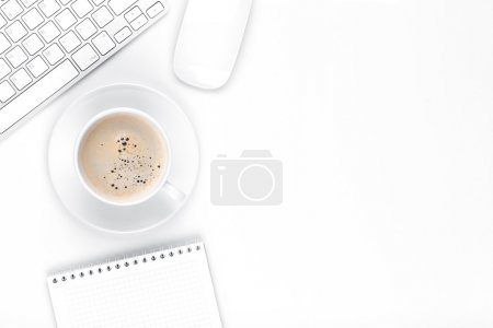 Photo for Office desk table with computer, supplies and coffee cup. Top view with copy space - Royalty Free Image