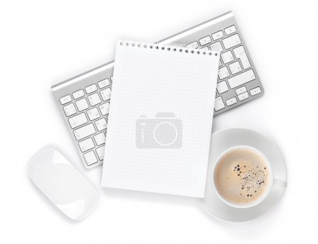 Business work place with keyboard and coffee