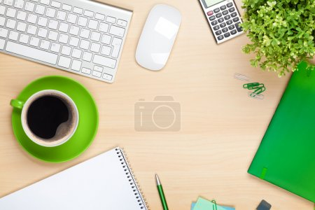 Office table with coffee cup