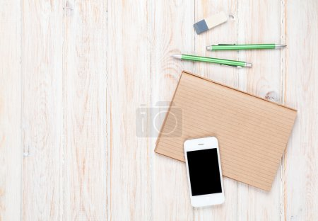 Office  table with   smartphone