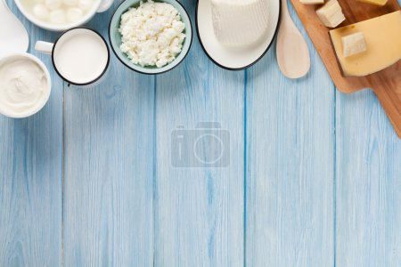 Dairy products. Top view with copy space