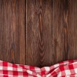 Kitchen table with red towel. Top view with copy s...