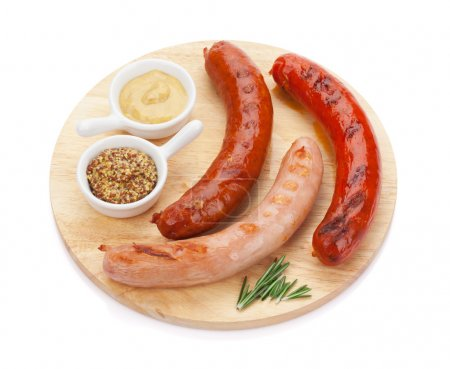 grilled sausages with condiments