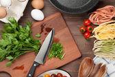 Těstoviny vaření přísad a nádobí