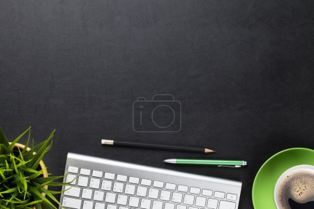 keyboard, flower and coffee cup