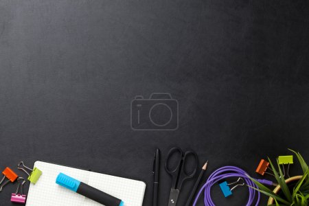 Office desk table with supplies