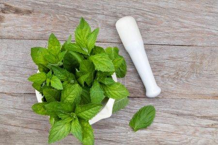 Fresh mint in mortar on garden table