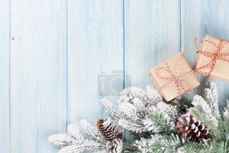 Christmas fir tree and gift boxes