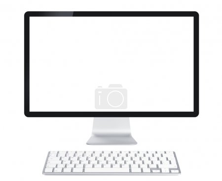 Photo for Computer display with blank screen and wireless keyboard. Front view. Isolated on white background - Royalty Free Image