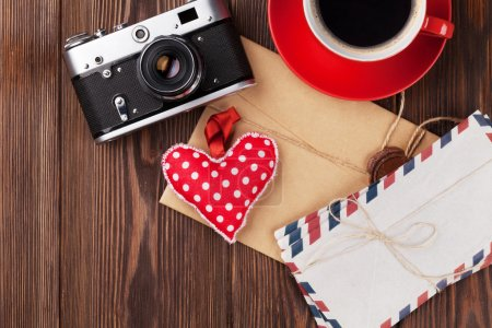 Valentines day heart, camera, coffee