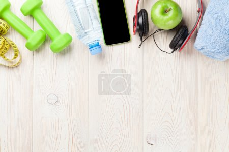 Dumbbells, water and music