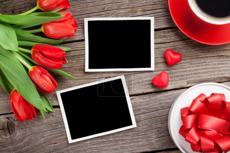 Red tulips, gift box and Valentine's day photos