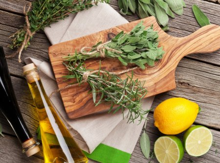 Herbs, condiments with lemon, lime and oil