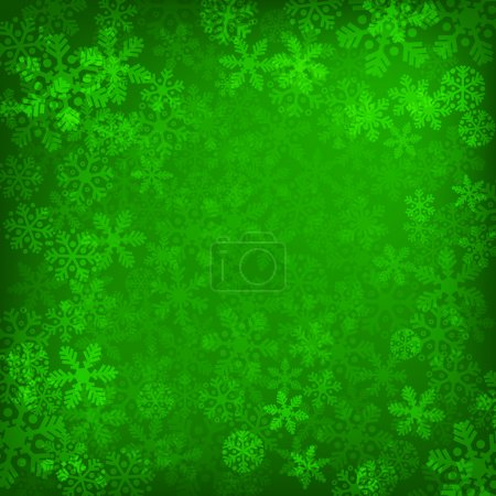 Illustration for Abstract green christmas background with snowflakes - Royalty Free Image