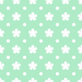 Flowers on green seamless pattern background