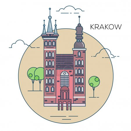 The illustration of old town in the Poland