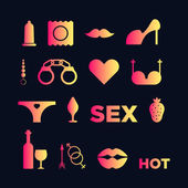 The silhouette filled by different sex shop icons