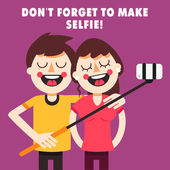 Couple taking selfie with selfie stick Cartoon characters Fully editable vector illustration