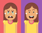 Two characters: a girl with crooked teeth crying and girl with braces on teeth laughing with happiness Fully editable vector illustration of a flat style