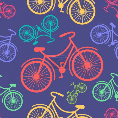Retro hipster styled different colored bycicles