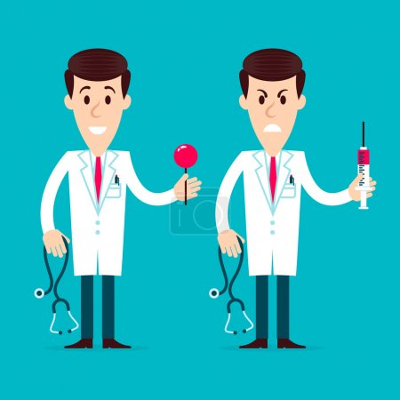 Illustration for Two doctors angry and friendly cartoon holding in their hands stethoscope and syringe on a blue background. Fully editable vector illustration. Perfect for informational cards, posters, flyers. - Royalty Free Image