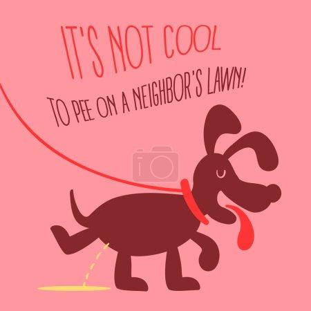 The dog peeing illustration