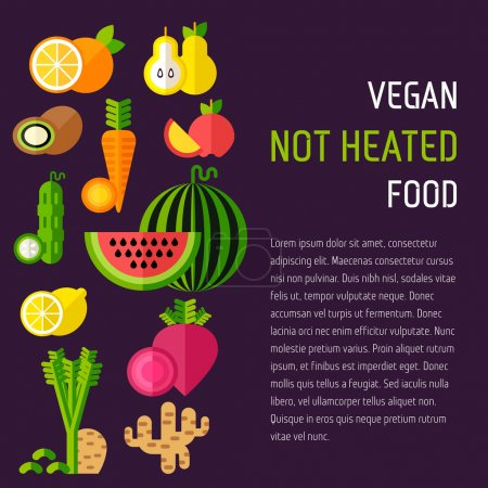 Set of organic food with right text