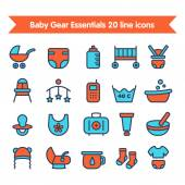 Baby Line Icons set colored 2