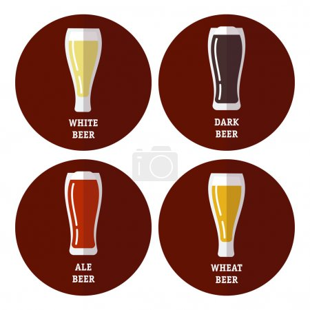 Flat icons set of different types of beer