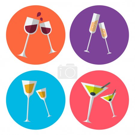 Set of four alcohol flat icons