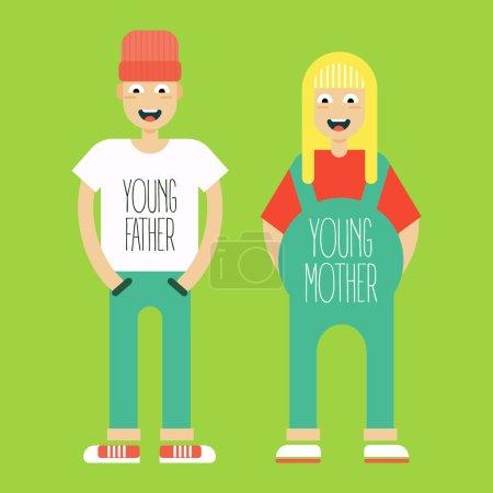 Illustration pour Jeune couple marié en attente de la brûlure de l'enfant. Des hypsters branchés. Illustration vectorielle et dessin animé . - image libre de droit