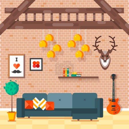 Cozy comfortable modern loft living room