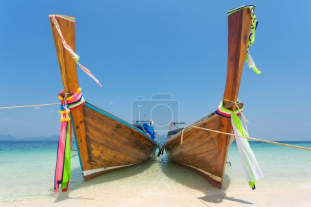Longtail boats at the tropical beach