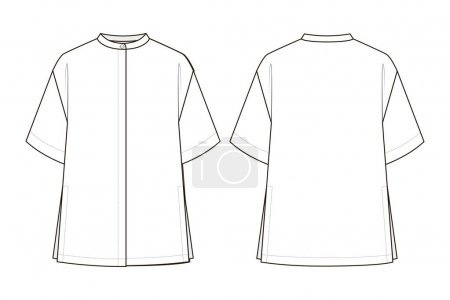 Illustration for Fashion technical drawing of oversized shirt with stand collar - Royalty Free Image