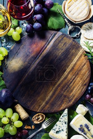 Photo for Food background with Wine and Grape. Lots of copy space. - Royalty Free Image