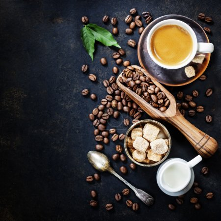 Photo for Coffee composition on dark rustic background - Royalty Free Image