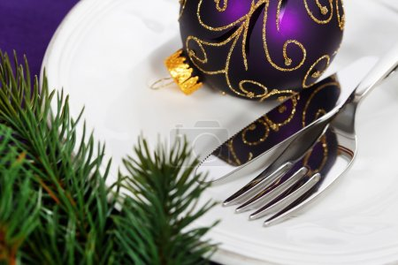 Photo for Christmas And New Year Holiday Table Setting-Holiday decoration - Royalty Free Image