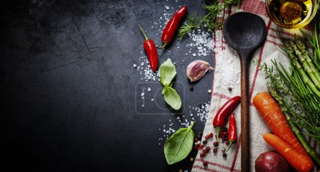 Photo for Wooden spoon and ingredients on dark background. Vegetarian food, health or cooking concept. - Royalty Free Image
