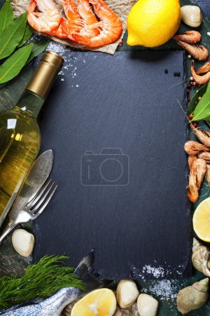 Photo for Food background with Seafood and Wine. Lots of copy space - Royalty Free Image