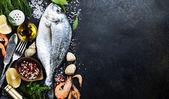 """Постер, картина, фотообои """"вкусные блюда из свежей рыбы"""""""