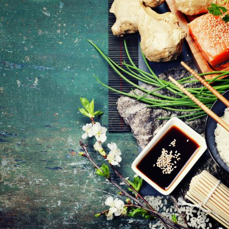 Photo for Asian food background (thaditional sushi ingredients) - Royalty Free Image