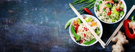 Photo for Chinese noodles with vegetables and shrimps. Food background - Royalty Free Image