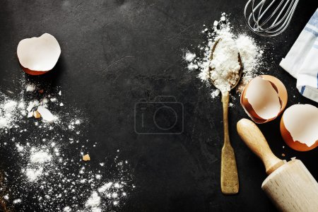 Photo for Baking background with eggshell and rolling pin - Royalty Free Image