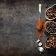 Top view of three different varieties of coffee be...